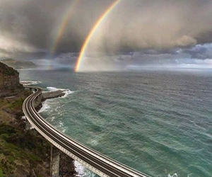 rainbow, sea, and nature image