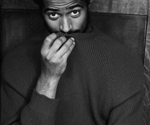 actor, alfred enoch, and black and white image