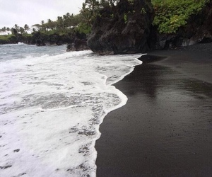 beach, black, and sand image