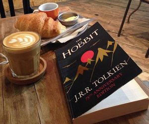 book, coffee, and hobbit image