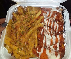 food, fries, and wings image