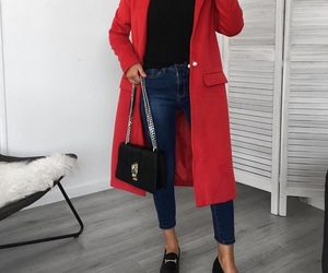 bags, coat, and red image