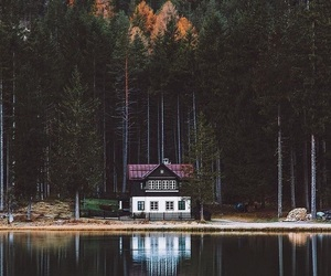 house, forest, and lake image