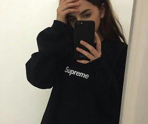 girl, black, and supreme image