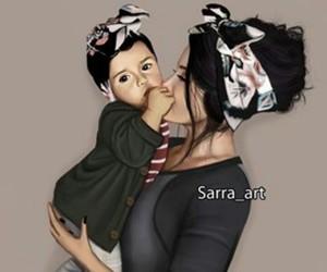 art, baby, and mum image