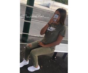girl, iphone, and nike image