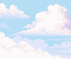 clouds, pixel art, and merrigo image
