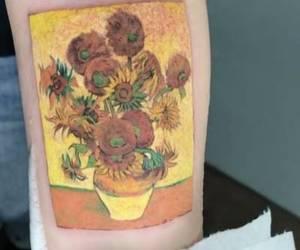 sunflowers, tattoo, and van gogh image