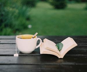book, tea, and nature image