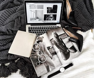 black, macbook, and shoes image