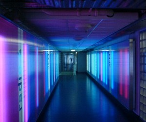 blue, hallway, and pink image