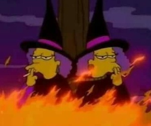 witch, simpsons, and fire image