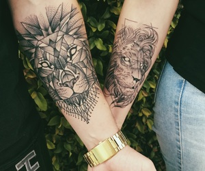 arm, couple, and ink image