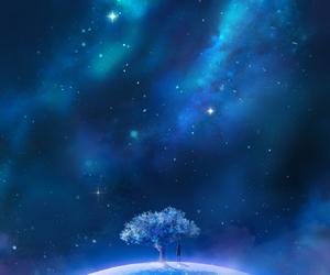 stars, art, and blue image