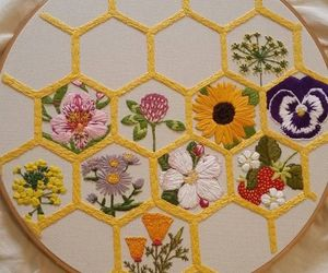 embroidery, flowers, and honeycomb image