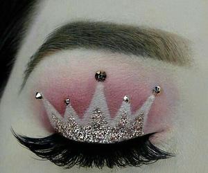 crown, makeup, and pink image