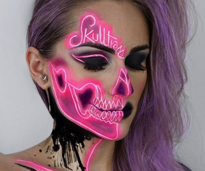 makeup, Halloween, and neon image