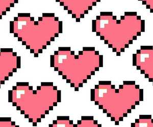 pixel, heart, and hearts image