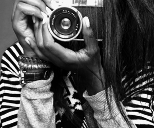 black and white, black girl, and camera image