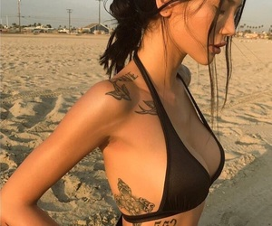 tattoo, beach, and woman image