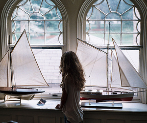 girl, boat, and window image