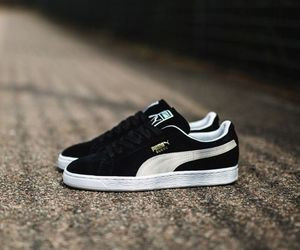 black, puma, and sneakers image