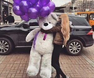 girl, bear, and balloons image