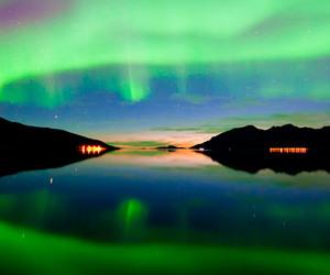 aurora borealis, lake, and northern lights image