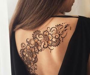flowers, henna, and tattoo image