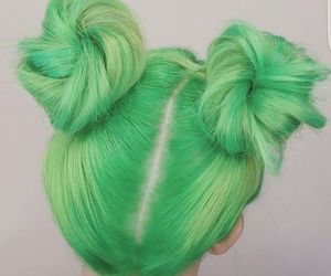 green, hair, and buns image