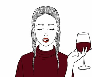 art, girl, and wine image