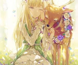 anime, anime girl, and deer image