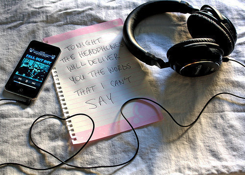 music, headphones, and fall out boy image
