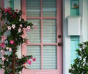 pink, door, and flowers image
