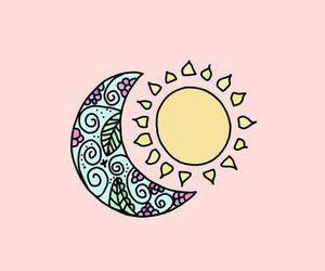 wallpaper, moon, and sun image