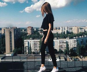 girl, beautiful, and city image