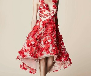coral, dress, and flores image