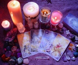 candle, crystal, and magic image
