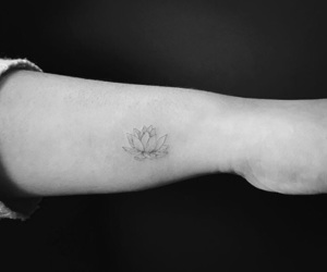 arm, balck and white, and tattoo image