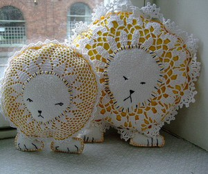 crochet, doily, and lion image