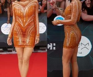 fashion, orange dress, and outfit image
