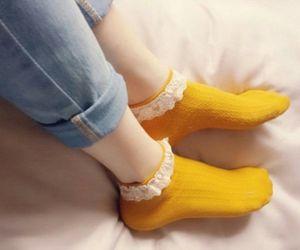 yellow, aesthetic, and socks image