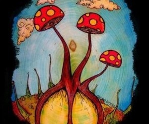 mushroom, peace, and art image