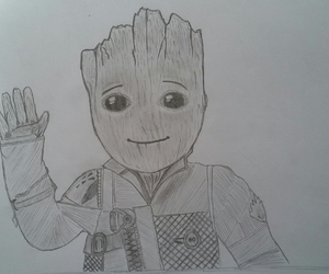 dibujo, baby groot, and guardianes de la galaxia2 image