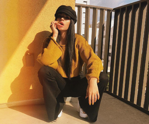 girl, maggie lindemann, and yellow image