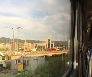 korea, sunset, and train image