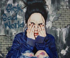 girl, sad, and art image