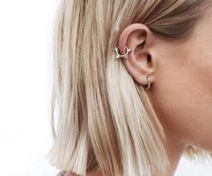 hair, blonde, and earrings image
