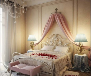 bedroom, pink, and romantic image