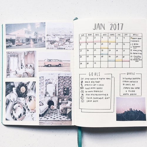 january, winter, and bullet journal image